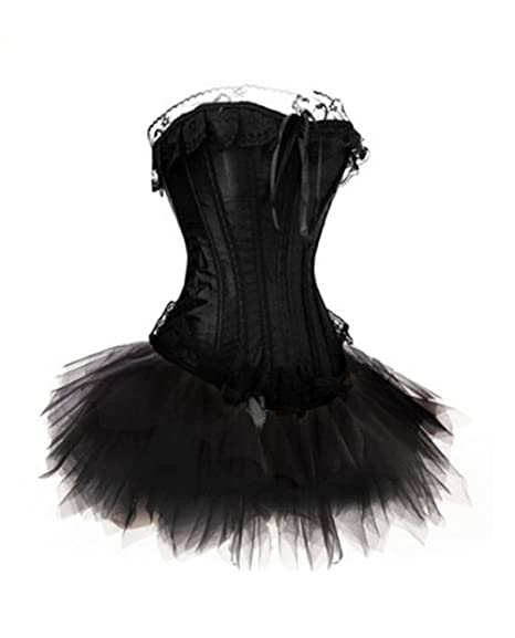 Amazon.com: Muka Burlesque Encaje corsé corpiño Tutu Set ...
