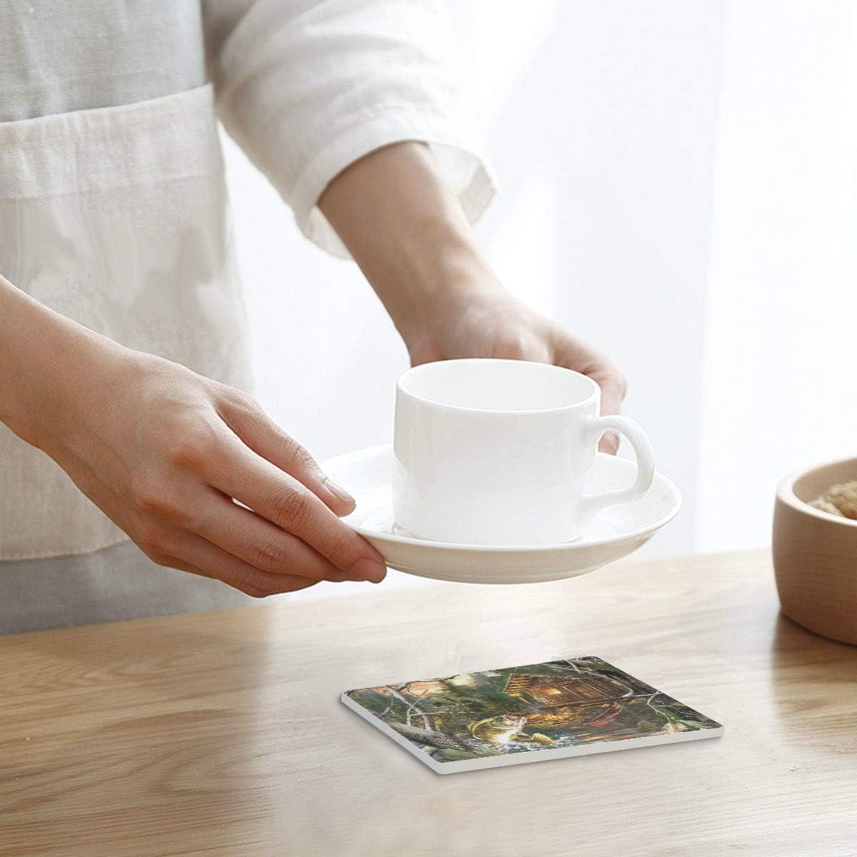 Compra PANILUR Cabaña del Bosque la Granja y bajo bocazas,Posavasos de cerámica, Base de cojín para Taza de café en Amazon.es