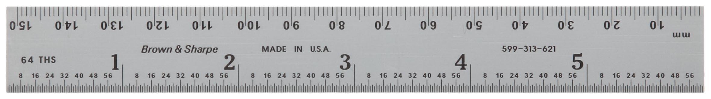 Brown & Sharpe 599-313-621 Chrome Finish Tempered Steel Rule, 6'' Length