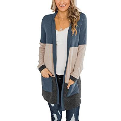 Bingerlily Womens Casual Open Front Cardigans Colorblock Long Sleeve Loose Knit Lightweight Outerwear with Pocket at Women's Clothing store