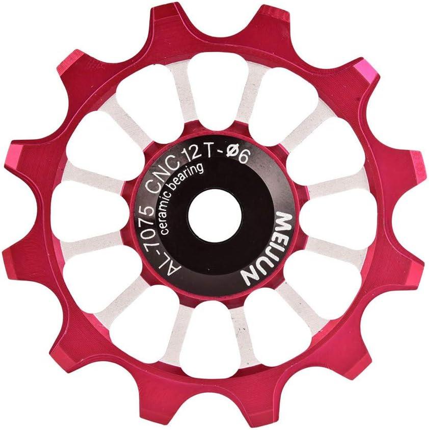 Tbest Rueda de gu/ía de Bicicleta,12T Ruedas de Jockey Polea MTB Road Rueda de Bicicleta de monta/ña Desviador Trasero Rueda de Rodillo Rueda de aleaci/ón de Aluminio Rueda de polea Jockey