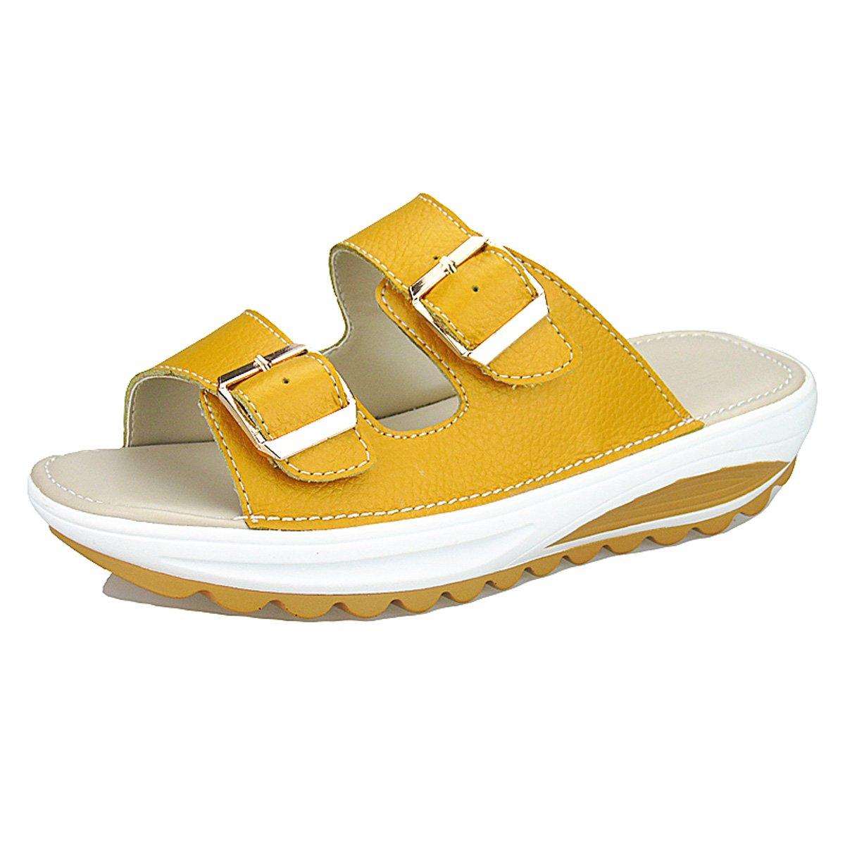 gracosy Damen Pantoletten, Leder Sandalen Zehentrenner Flip Flops Hausschuhe Sommer Strand Schuhe Espadrilles  39 EU|Gelb