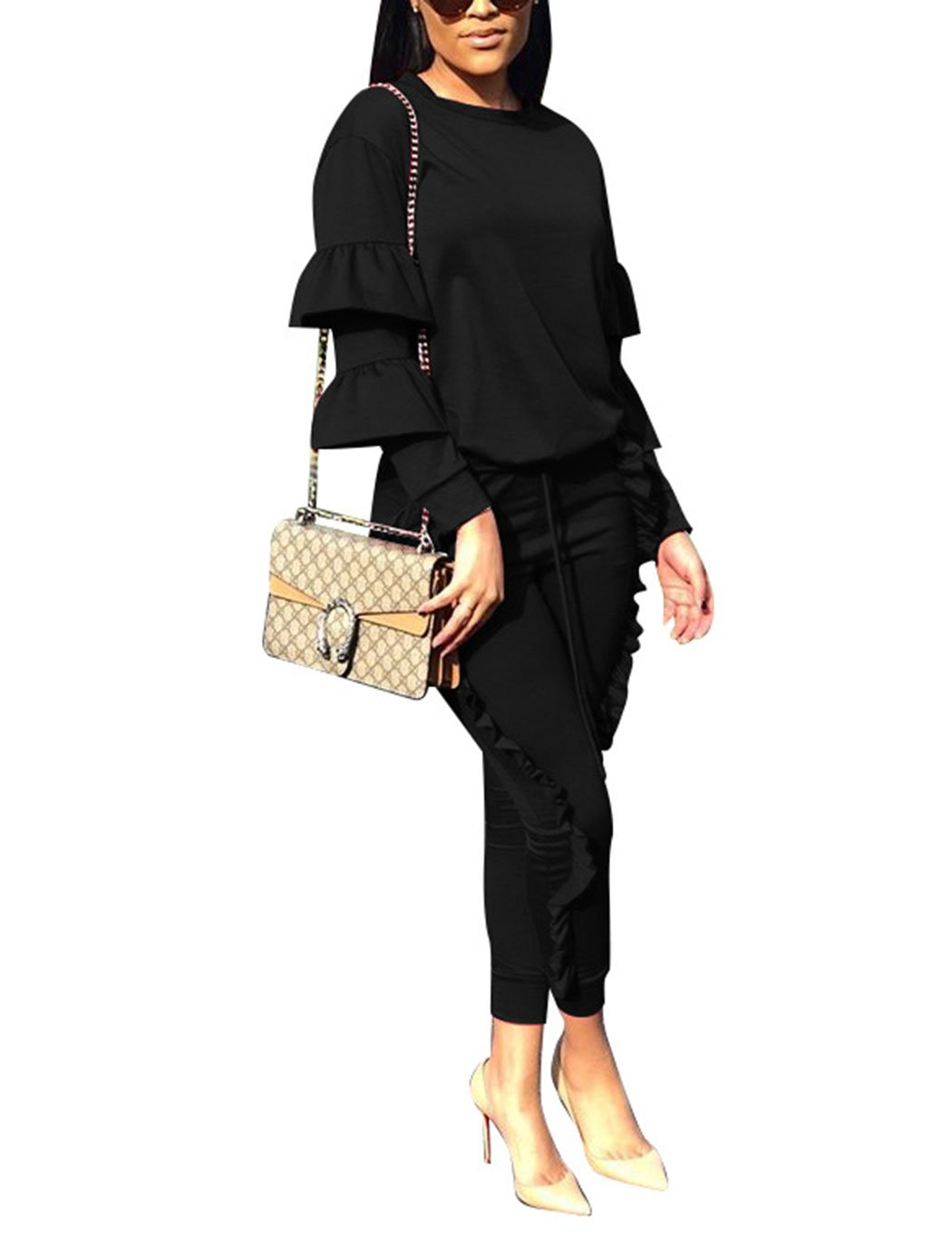 Women 2 Pieces Outfits Puff Sleeve Top and Long Flounced Pants Sweatsuits Set Tracksuits Black XX-Large