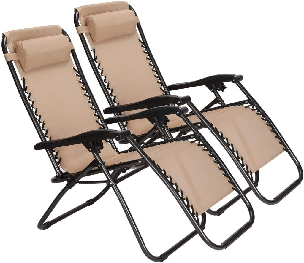 Set of 2 Zero Gravity Outdoor Lounge Chairs w Cup Holder with Mobile Device Slot Adjustable Folding Patio Reclining Chairs W Snack Tray Phone Holder