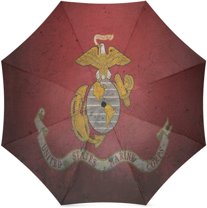 Custom United States Marine Corps Eagle /& Anchor Logo Compact Travel Windproof Rainproof Foldable Umbrella