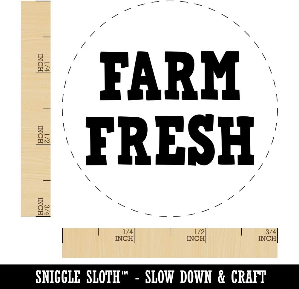 Farm Fresh Fun Text Rubber Stamp for Stamping Crafting Planners 3//4 Inch Small