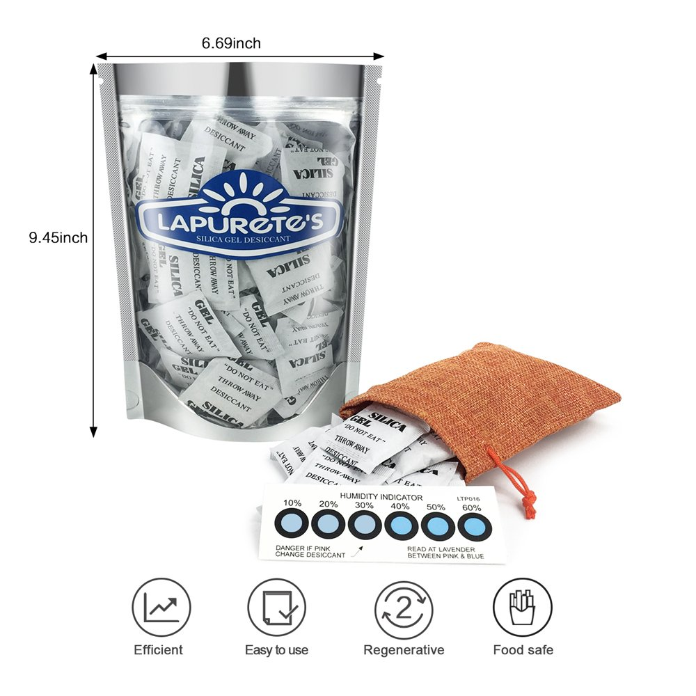 Regenerative + Humidity Indicator card,one of the most efficient silica gel pouches 1KG 10g silica gel +10 pack Humidity card 5g/×50 Lapuretes Silica Gel Desiccant