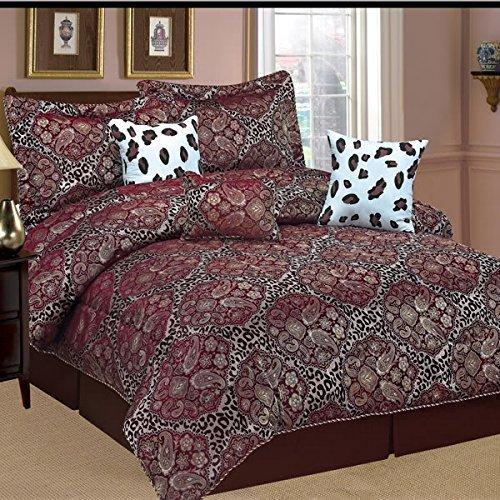 Dovedote Dovedote Burgundy Paisely Leopard Comforter Set,...