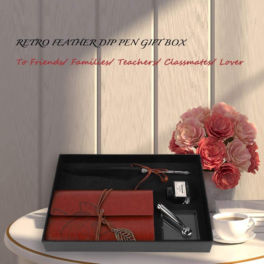 Gift Box Retro Classical Style Feather Pen Feather Dip Pen Stationery Gift Box Retro Leather Notebook and Luxury Fountain Pen Calligraphy Pens Black