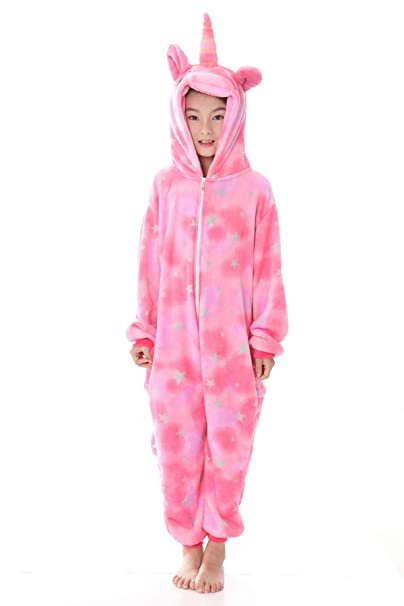 girl rainbow Unicorn Kigurumi Animal Cosplay Costume kids Pajamas Sleepwear.