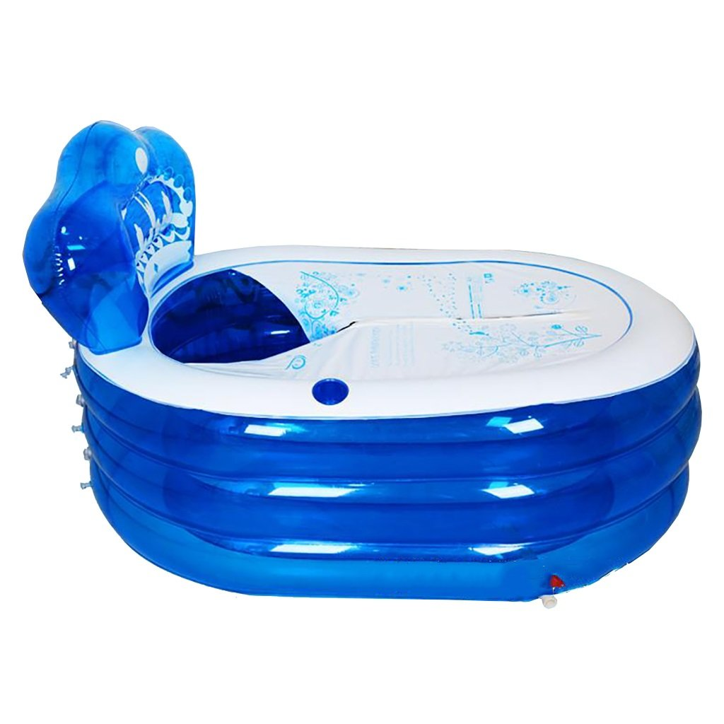 130cm ZELIAN-Aerated New Oversized Foot Pump Inflatable Bathtub Adult Bath Plastic Shower Bath Barrel Folding Bath Bucket bluee (Size   130cm)