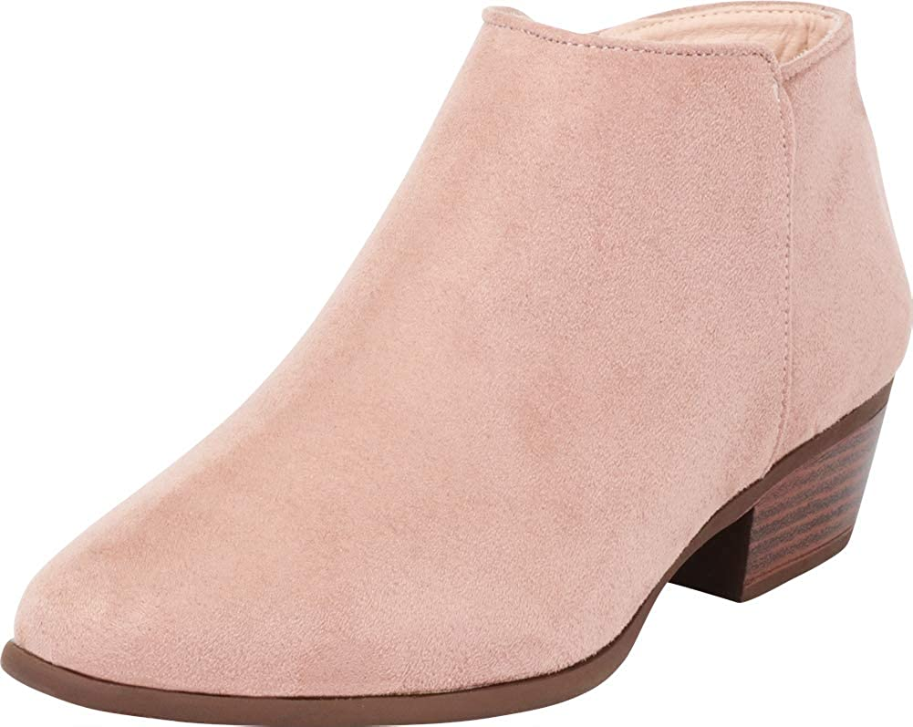 Mauve Imsu Cambridge Select Women's Classic Western Chunky Stacked Low Heel Ankle Bootie