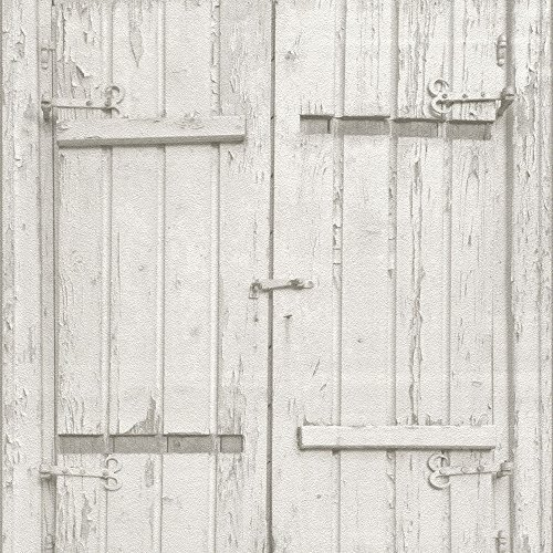Rasch Wooden Window Country Barn Pattern Wallpaper Rustic Realistic Faux Wood Effect White 525014