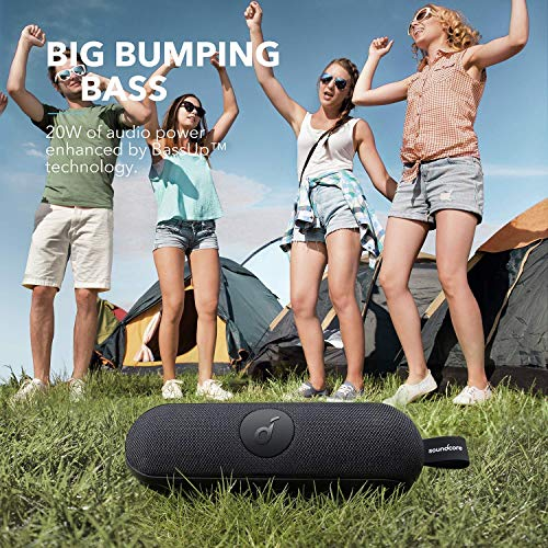 Anker Soundcore Icon+ Portable Bluetooth Speaker, IP67 Waterproof Speaker, 20-Watt Audio Output, 12-Hour Playtime, for Beach Party, Vacation, Camping, Hiking, Cycling, and Swimming - Black (Renewed)