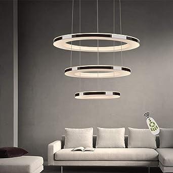 ZMH Moderne LED Pendelleuchte esstisch 10W Led 10-Ring led dimmbar  Fernbedienung Hängeleuchte Wohnzimmer Deckenleuchte Schlafzimmer  Höhenverstehbar
