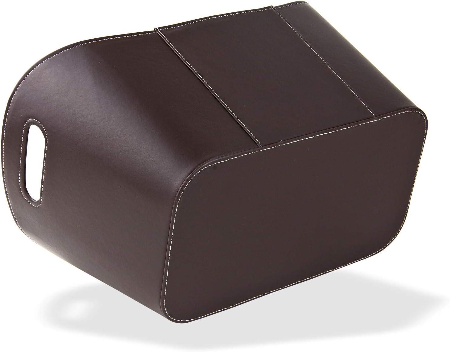 Madera Cesta – Leña Cesta – Cesta para leña – Chimenea madera piel  sintética de calidad en negro y marrón 18 x 18 x 18 cm, Marrón
