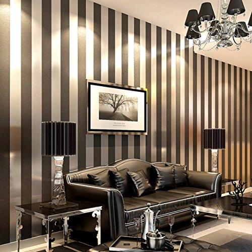 QIHANG Modern Minimalist Non-woven Vertical Stripes Wallpaper Roll Black Gray 0.53m10m=5.3㎡ - Gray Stripe Wallpaper