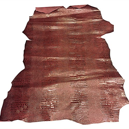 Quality Calf Skin Leather Hide - Burgundy Snakeskin Embossed - 10 sq ft - 3-4 oz avg Thickness - Upholstery Material - Craft Supply - Large Genuine Leather Pelts - Leather Treasure Shop ()