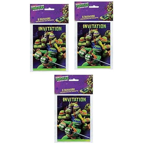 Amazon Com Tmnt Teenage Mutant Ninja Turtles Party Invitations 24