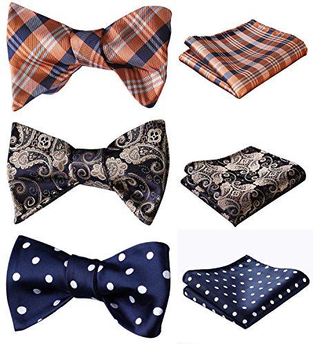 BIYINI 3 Packs Classic Mens Adjustable Multiple Self Tie Bow tie & Pocket Square Sets Good Gift for Men