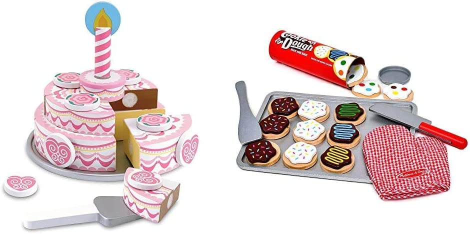 Melissa & Doug Wooden Triple-Layer Party Cake & Slice and Bake Cookie Set