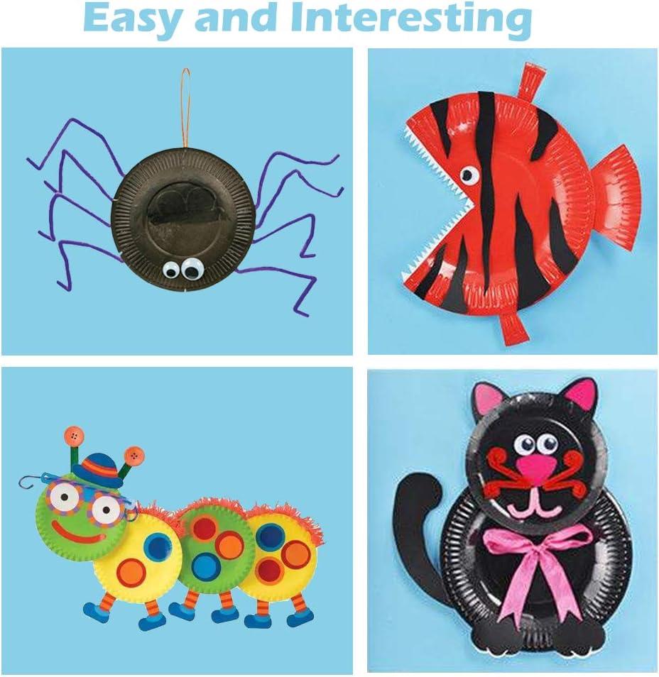 DIY 3D Animals Craft Sticker Card Project Teaching Supplies for Preschool Toddler Boys Girls Originalidad 10Pcs Animal Paper Plate Art Kits for Kids