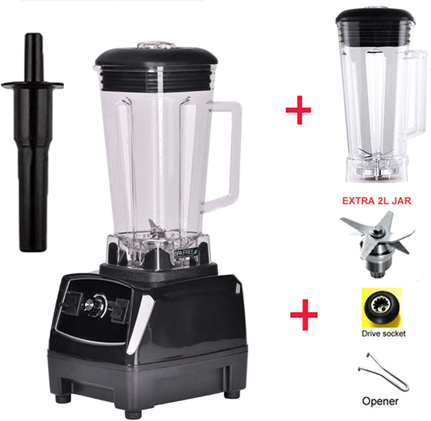 2200W BPA FREE 3HP 2L G5200 high power commercial home professional smoothies power blender food mixer juicer fruit processor,BLACK 2L JUG 3 PARTS