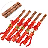 100 Pairs 10 Inch Pau Rosa Wood Chopsticks with Red Embroidery Pouch and Engraved Custom Personalized Names and Date in Classic Chinese Style - Washable Chopsticks in Bulk for Wedding or Business