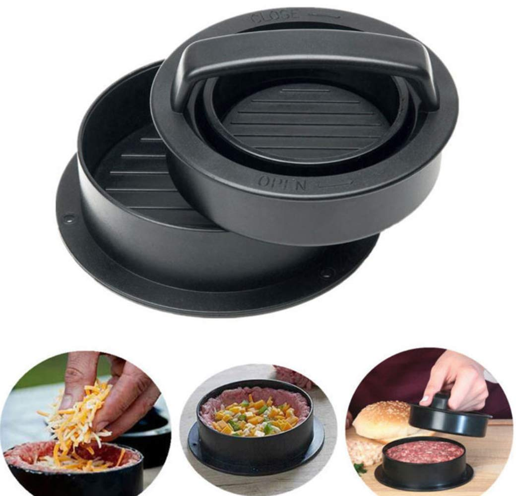 Burger Press, 3-in-1 Non-Stick Hamburger Press, Burger Meat Press Maker, Patty Press for BBQ, Stuffed Burgers, Sliders, Regular Beef Burgers, Patty, Dishwasher Safe Kootips-1-4418