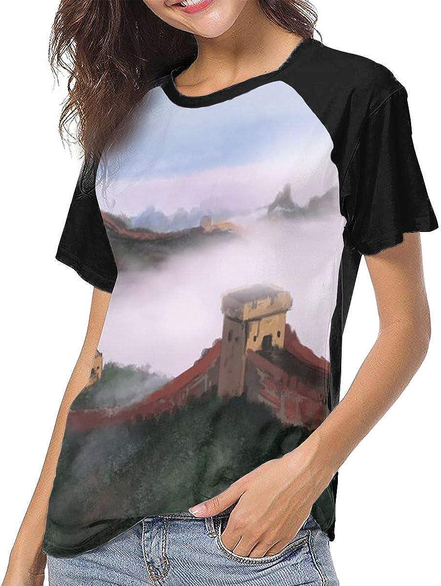 Great Wall Casual Raglan Tee Baseball Tshirts Tops Blouse Womens Summer Short Sleeve