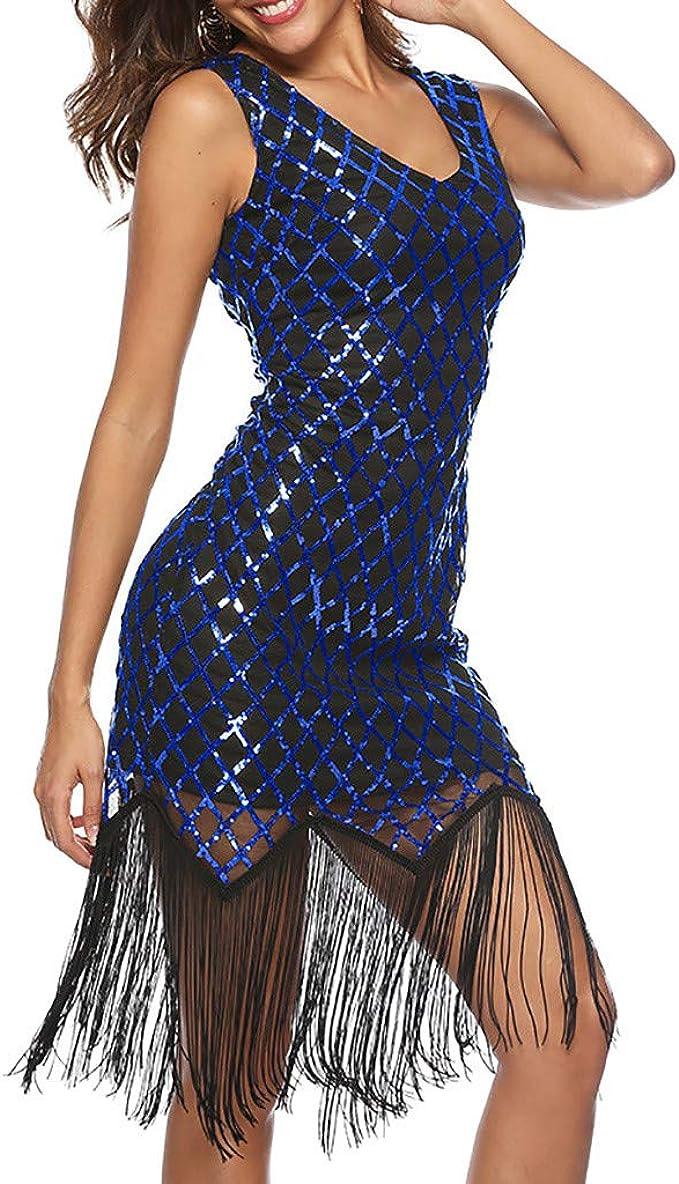 Zegeey Damen Kleid Ohne Arm Glitzer Paillettenkleid 10er Vintage
