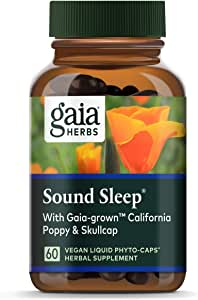 Gaia Herbs, Sound Sleep, Sleep Support, Non Habit Forming Herbal Sleep Aid, Kava Kava Root, Passionflower, Skullcap, California Poppy, Organic, Melatonin Free, Vegan Liquid Capsules, 60 Count