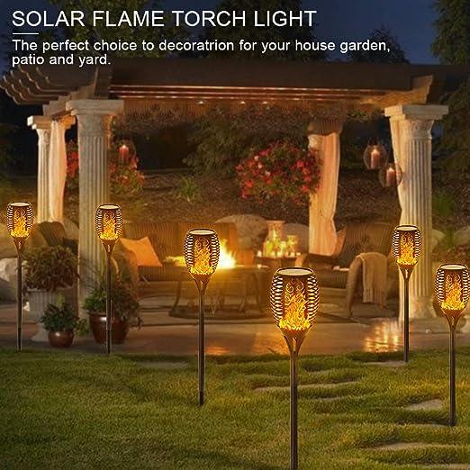 Solar Path Light Flame Lights Waterproof Pathway Garden Lights ...