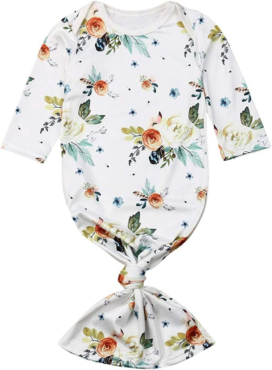 Newborn Floral Sleeping Bag Infant Girl Long Sleeve Sleepwear Gown with Baby Hat Coming Home Outfits
