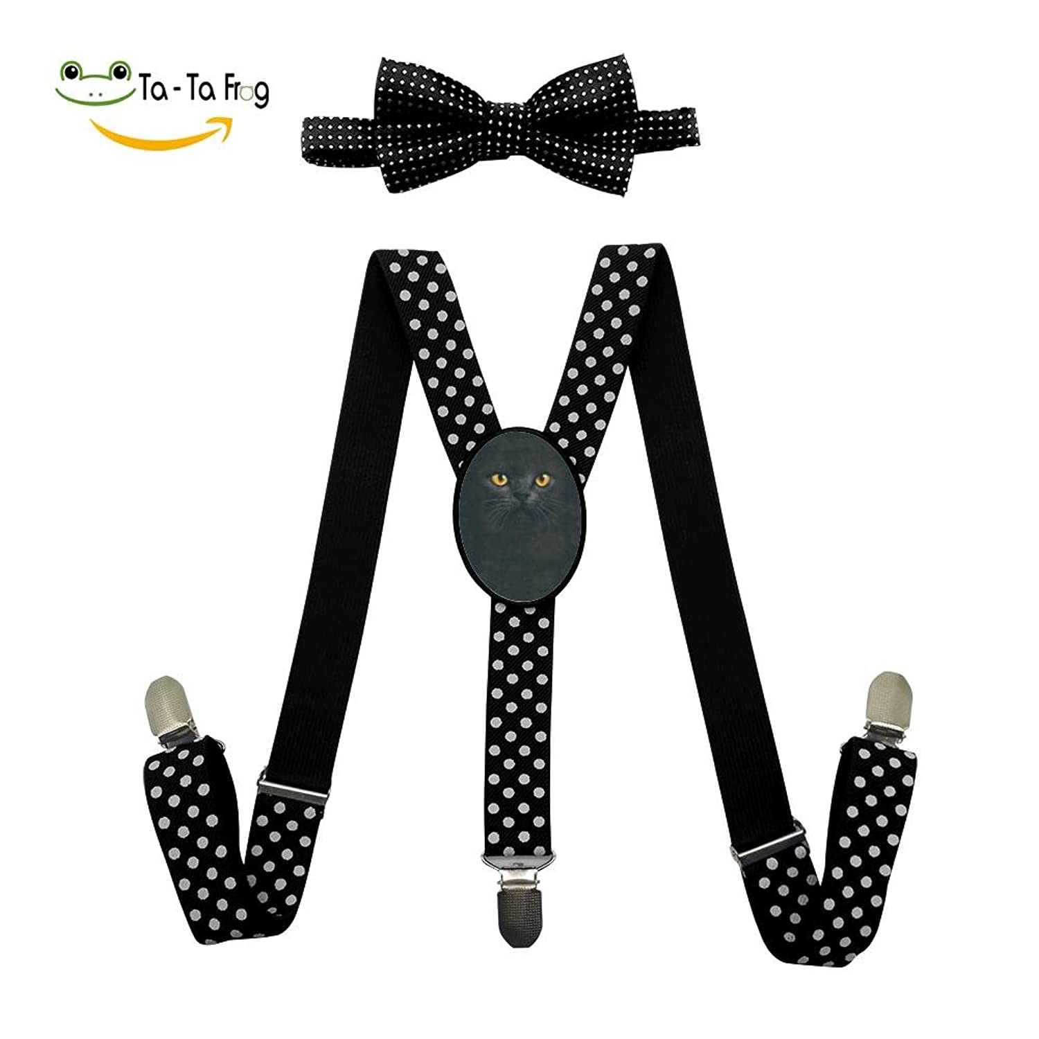 discount Big Face Black Cat Adjustable Suspenders And Pre-Tied Bowtie Set For children Casual And Formal hot sale