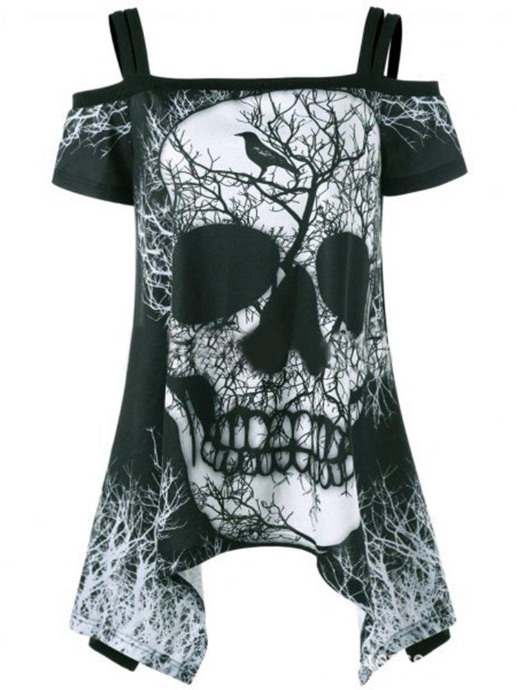 Imily Bela Women's T Shirt Off Shoulder Skull Print Mini Dress Swing Tunic Tops Plus Size