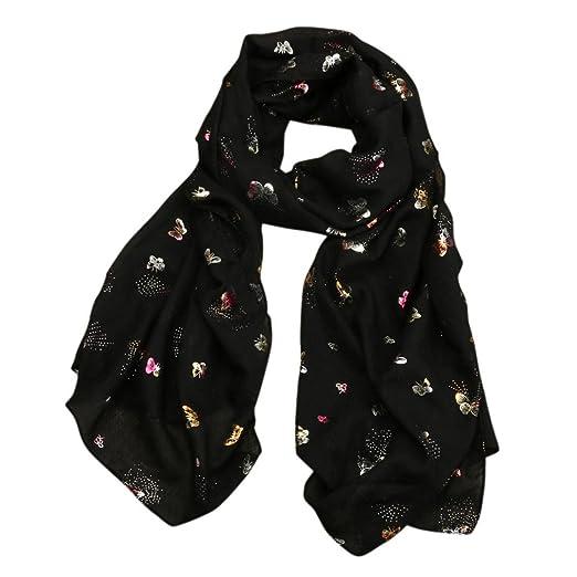 c2d83e26c0ccf Scarf,Han Shi Women Fashion Allover Butterfly Print Long Wrap Shawl Pashmina  Stole Scarves (