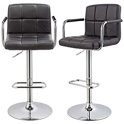 Terrific Bar Stool Kitchen Bar Stools With Backrest Armrest Set Of 2 Duhome Wy 451K Bar Chair Black Beutiful Home Inspiration Aditmahrainfo