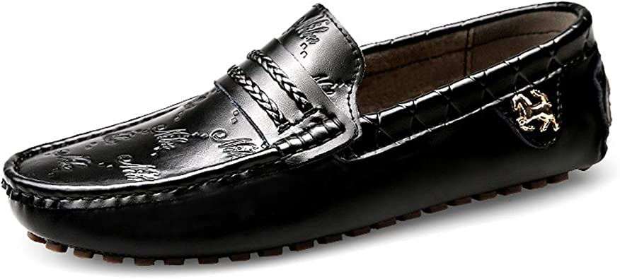 FOXSENSE Casual Premium Genuine Leather Round Cap-Toe Oxford Loafer Shoes for Man