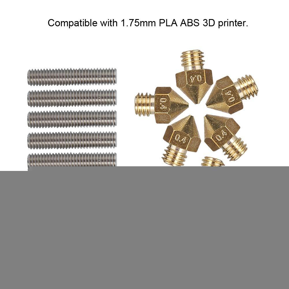 Kits Accessoire Imprimante 3D Bloc de Chauffage i3 CR7 etc. V2 Alunar M508 10pcs Buse dimprimante 3D 0,4 mm Gorge de Tuyau pour MK8 Anet A8