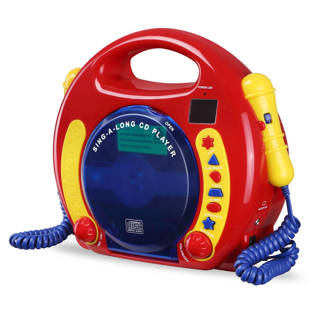 CD/USB/SD Portable Sing Along CD Player with 2 Microphones Anti Skip Protection LCD Display by O.Y.M (Image #4)
