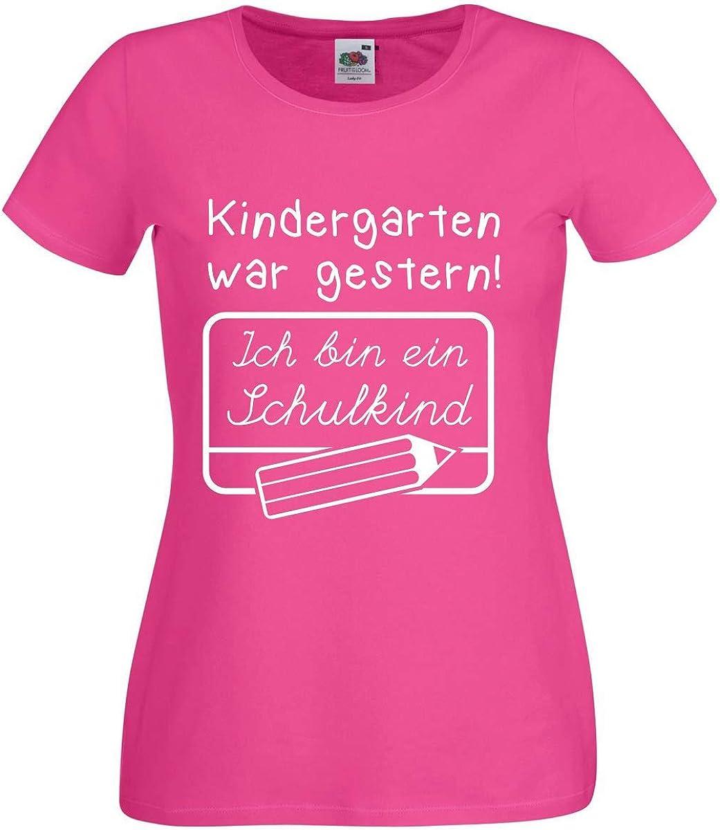 M/ädchen Girlie nation T-Shirt Einschulung Schulanfang Kindergarten war gestern