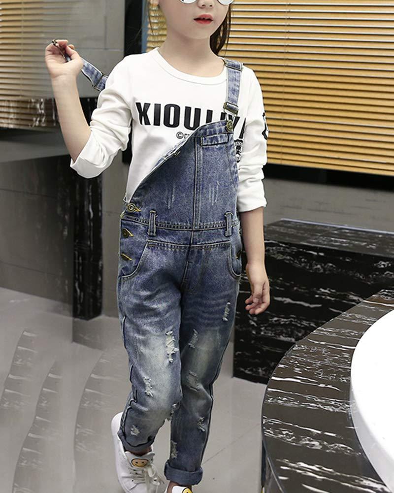 Salopette Enfant Fille Enfant Jeans Pantalon Longue Trou Déchiré Combinaison Pantalons
