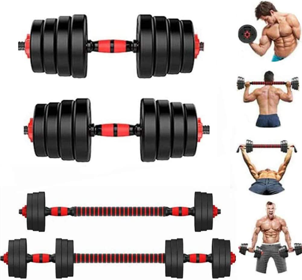 YJSJ 2 in 1 Large Dumbbell Barbell Set Adjustable Free Weights for Home Gym Muscle Training Dumbbells Kits Non-Slip Men and Women Body Workout Equipment, 5-30KG(Size:15kg / 33lb)