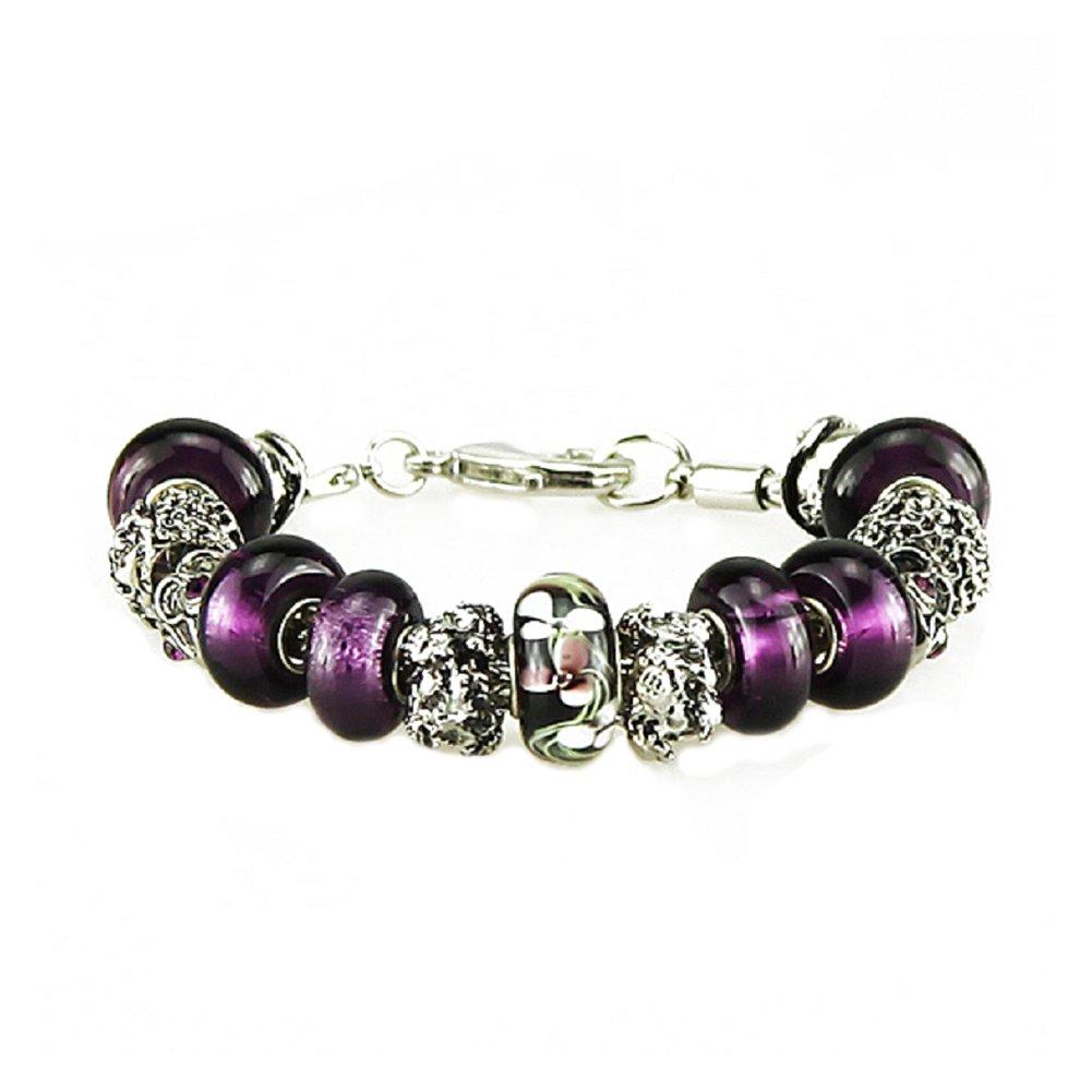 White Birch Charm Bracelets for Women Silver Plated Purple Extender 7.5-10 DIY Jewelry