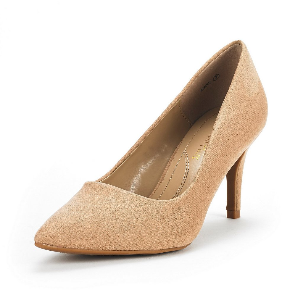 DREAM PAIRS Women's KUCCI Nude Suede Classic Fashion Pointed Toe High Heel Dress Pumps Shoes Size 6.5 M US