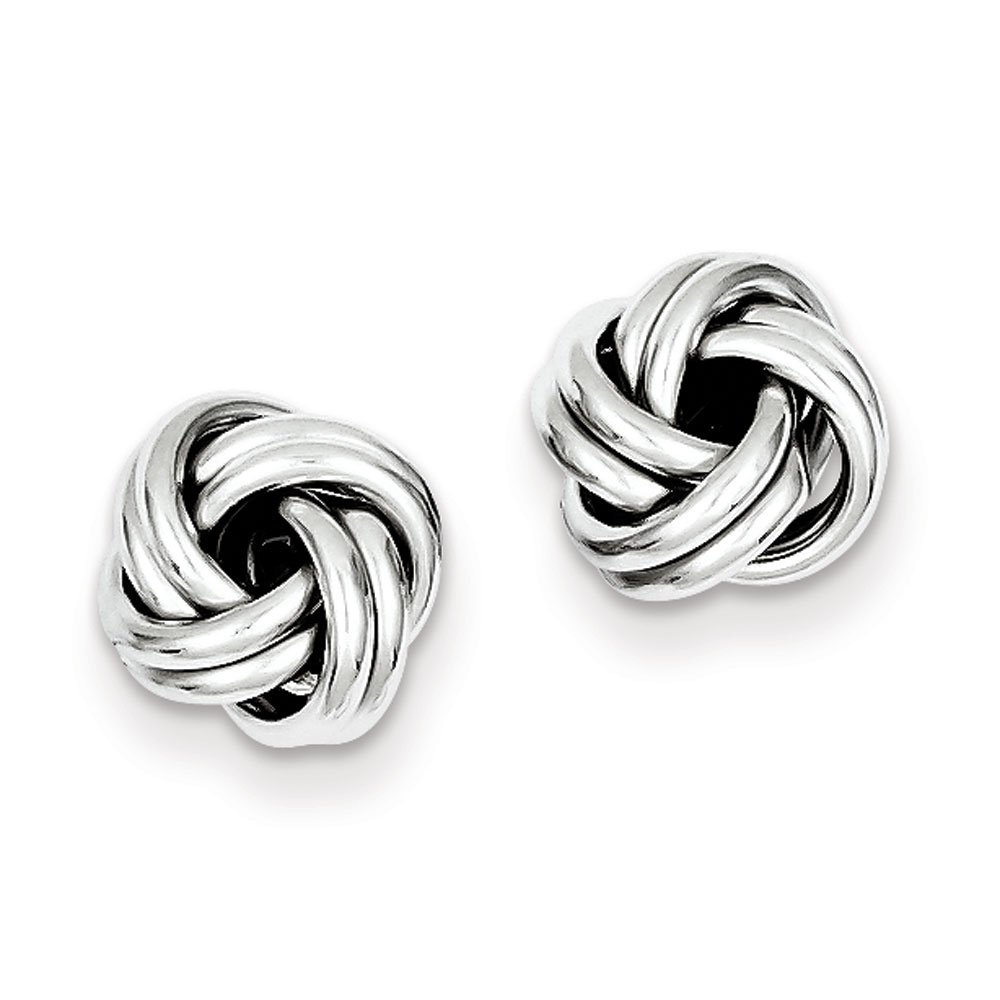 Designs by Nathan, 925 Silver Romantic Love Knot Stud Earrings, Several Styles, Rhodium Plated