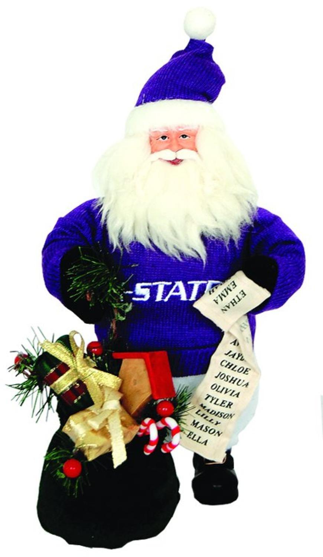 10'' NCAA Kansas State Wildcats Gift Bearing Santa Christmas Table Top Figure