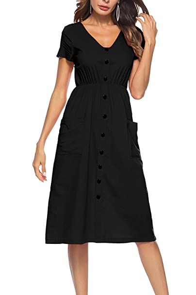 ce47fa9c7b7 LovInParis Women s Short Sleeve Dresses V Neck Button Down Swing Midi Dress  with Pockets at Amazon Women s Clothing store