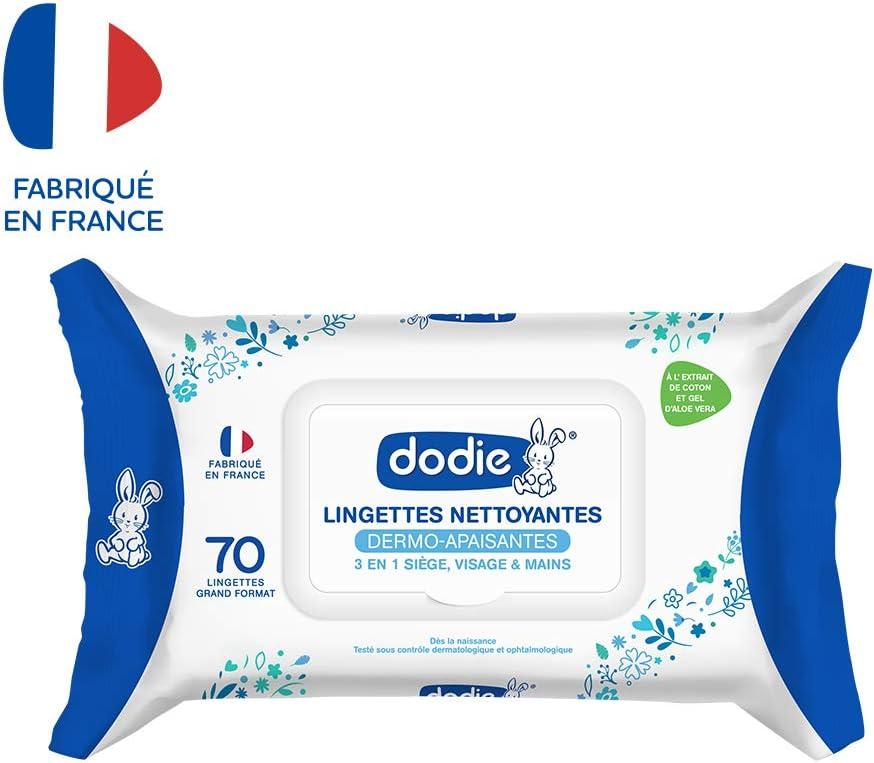 DODIE Lingettes Nettoyantes Dermo-Apaisantes Douceur 3 en 1 x 70